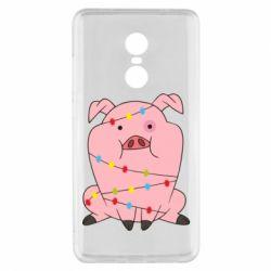 Чехол для Xiaomi Redmi Note 4x Свинья обмотанная гирляндой