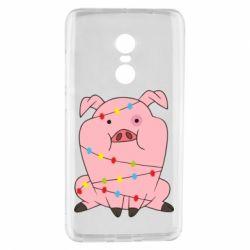 Чехол для Xiaomi Redmi Note 4 Свинья обмотанная гирляндой