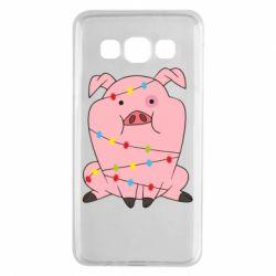 Чохол для Samsung A3 2015 Свиня обмотана гірляндою