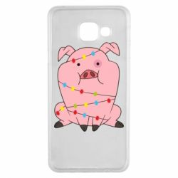 Чохол для Samsung A3 2016 Свиня обмотана гірляндою