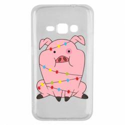 Чохол для Samsung J1 2016 Свиня обмотана гірляндою
