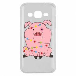 Чохол для Samsung J2 2015 Свиня обмотана гірляндою