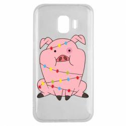 Чохол для Samsung J2 2018 Свиня обмотана гірляндою