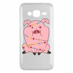 Чохол для Samsung J3 2016 Свиня обмотана гірляндою