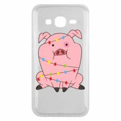 Чохол для Samsung J5 2015 Свиня обмотана гірляндою