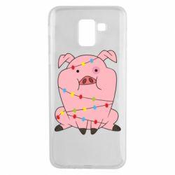 Чохол для Samsung J6 Свиня обмотана гірляндою