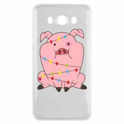 Чохол для Samsung J7 2016 Свиня обмотана гірляндою