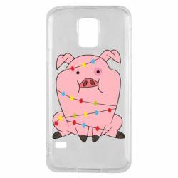 Чохол для Samsung S5 Свиня обмотана гірляндою