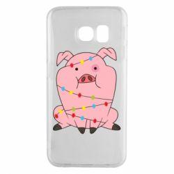 Чохол для Samsung S6 EDGE Свиня обмотана гірляндою