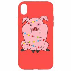 Чохол для iPhone XR Свиня обмотана гірляндою