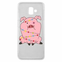 Чохол для Samsung J6 Plus 2018 Свиня обмотана гірляндою