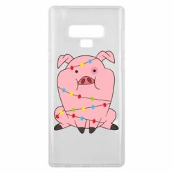 Чохол для Samsung Note 9 Свиня обмотана гірляндою