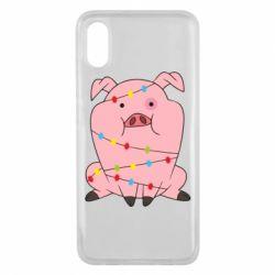 Чехол для Xiaomi Mi8 Pro Свинья обмотанная гирляндой
