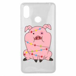 Чехол для Xiaomi Mi Max 3 Свинья обмотанная гирляндой