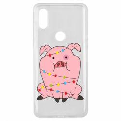 Чехол для Xiaomi Mi Mix 3 Свинья обмотанная гирляндой
