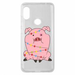 Чехол для Xiaomi Redmi Note 6 Pro Свинья обмотанная гирляндой