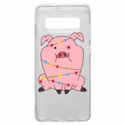 Чохол для Samsung S10+ Свиня обмотана гірляндою