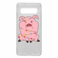 Чохол для Samsung S10 Свиня обмотана гірляндою
