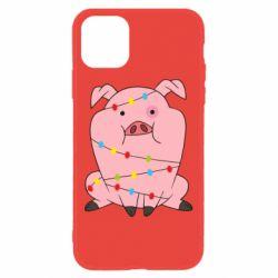 Чохол для iPhone 11 Свиня обмотана гірляндою