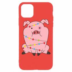 Чохол для iPhone 11 Pro Свиня обмотана гірляндою