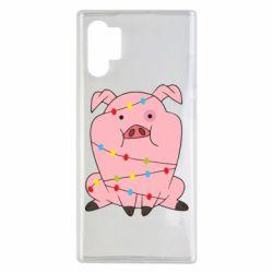 Чохол для Samsung Note 10 Plus Свиня обмотана гірляндою