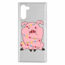 Чохол для Samsung Note 10 Свиня обмотана гірляндою