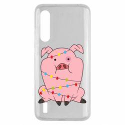 Чехол для Xiaomi Mi9 Lite Свинья обмотанная гирляндой