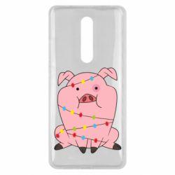 Чехол для Xiaomi Mi9T Свинья обмотанная гирляндой