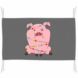 Прапор Свиня обмотана гірляндою