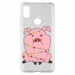 Чехол для Xiaomi Redmi S2 Свинья обмотанная гирляндой