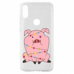 Чехол для Xiaomi Mi Play Свинья обмотанная гирляндой