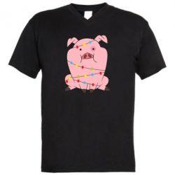 Чоловіча футболка з V-подібним вирізом Свиня обмотана гірляндою