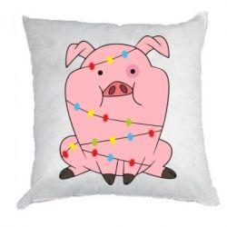 Подушка Свиня обмотана гірляндою