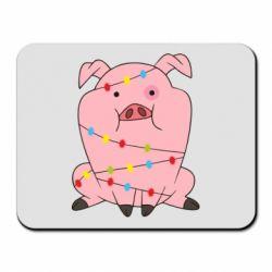 Килимок для миші Свиня обмотана гірляндою