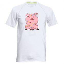 Чоловіча спортивна футболка Свиня обмотана гірляндою