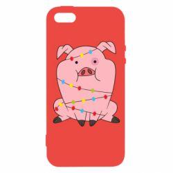 Чохол для iphone 5/5S/SE Свиня обмотана гірляндою