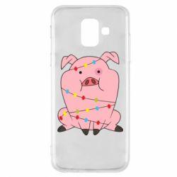 Купить Свинка, Чехол для Samsung A6 2018 Свинья обмотанная гирляндой, FatLine