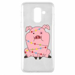 Купить Свинка, Чехол для Samsung A6+ 2018 Свинья обмотанная гирляндой, FatLine