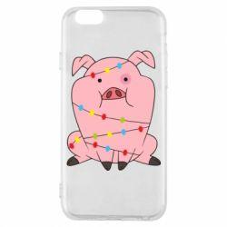 Чохол для iPhone 6/6S Свиня обмотана гірляндою
