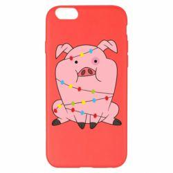 Чохол для iPhone 6 Plus/6S Plus Свиня обмотана гірляндою