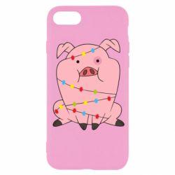 Чохол для iPhone 7 Свиня обмотана гірляндою