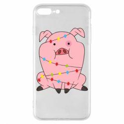 Чохол для iPhone 7 Plus Свиня обмотана гірляндою