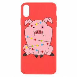 Чохол для iPhone X/Xs Свиня обмотана гірляндою