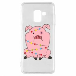 Чохол для Samsung A8 2018 Свиня обмотана гірляндою