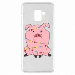 Чохол для Samsung A8+ 2018 Свиня обмотана гірляндою