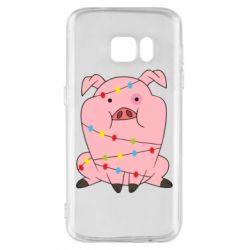 Чохол для Samsung S7 Свиня обмотана гірляндою