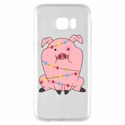Чохол для Samsung S7 EDGE Свиня обмотана гірляндою