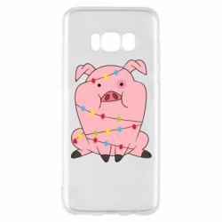 Чохол для Samsung S8 Свиня обмотана гірляндою