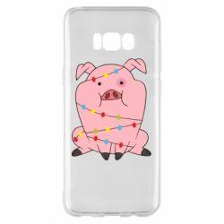 Чохол для Samsung S8+ Свиня обмотана гірляндою