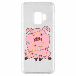 Чохол для Samsung S9 Свиня обмотана гірляндою